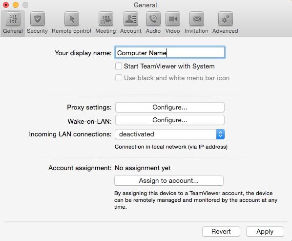 Mac OS - Preferenze Teamviewer