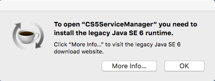 Apple Message: \u201cYou need to install the legacy Java SE 6 runtime