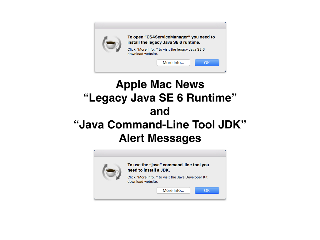 Apple Mac: Legacy Java SE 6 Runtime and Java Command-Line Tool JDK