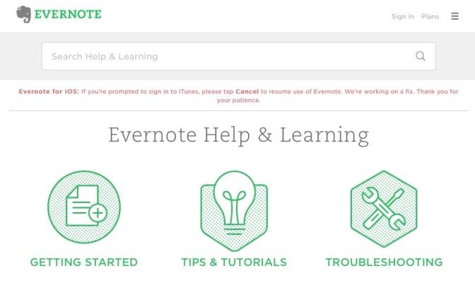 Evernote – Apple iTunes Login on iOS iPhone iPad