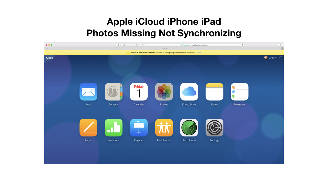 Apple iCloud iPhone iPad Photos Missing Not Synchronizing