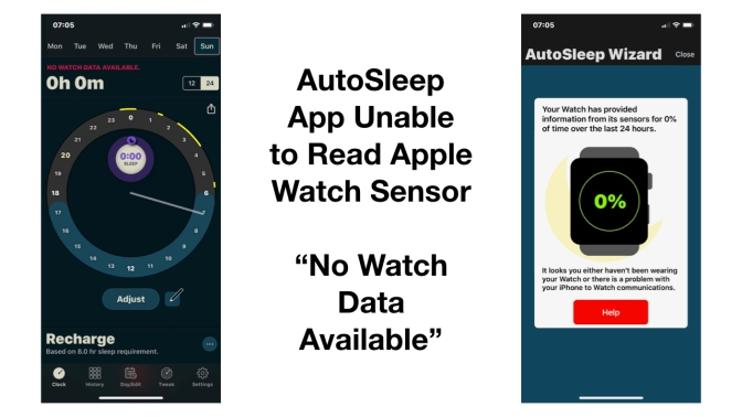 "AutoSleep App Unable to Read Apple Watch Sensor – ""No Watch Data Available"""